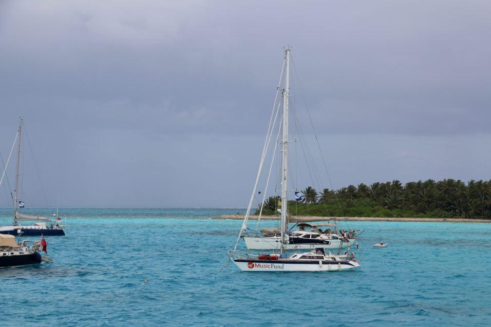 Florestan au mouillage devant Direction Island (Cocos Keeling)