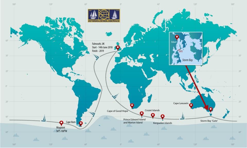 L'itinéraire de la Golden Globe Race 2018