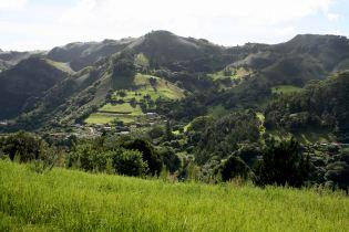 Les paysages verdoyants de l'intérieur de l'île